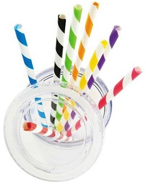 Acrylic Striped Straws Asst'd